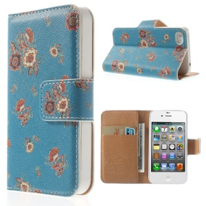 Elegant Floral Pattern Wallet Folio Leather Stand Shell for iPhone 4 4S