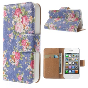 Elegant Rose Pattern Folio Leather Stand Wallet Case for iPhone 4 4S