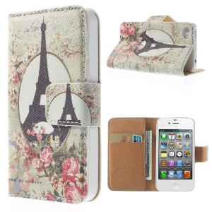 Eiffel Tower & Rose Pattern Folio Leather Stand Wallet Case Cover for iPhone 4 4S
