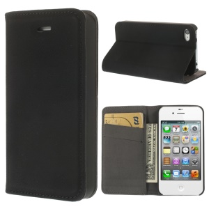 Matte Leather Stand Wallet Case for iPhone 4 4S - Black
