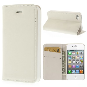 Matte Leather Stand Wallet Case Shell for iPhone 4 4S - White