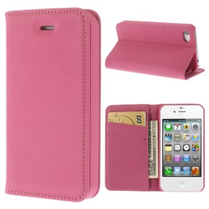Matte Leather Stand Wallet Case Cover for iPhone 4 4S - Rose