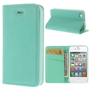 Matte Leather Wallet Stand Case Cover for iPhone 4 4S - Cyan