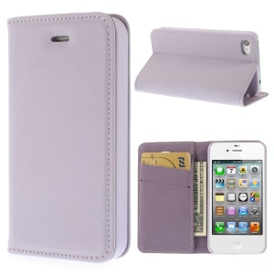 Matte Leather Wallet Stand Case Shell for iPhone 4 4S - Purple