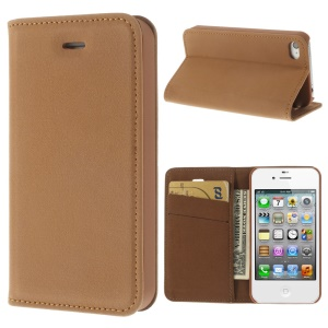 Matte Leather Wallet Stand Case for iPhone 4 4S - Brown
