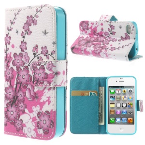 Plum Blossom & Bees Wallet Leather Skin Case for iPhone 4 4s w/ Stand