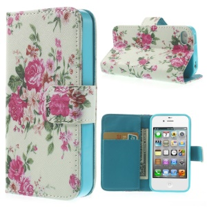 Appealing Blooming Roses Durable Leather Wallet Case for iPhone 4 4s w/ Stand