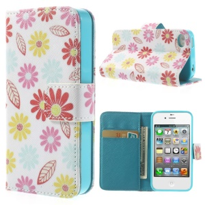 Cartoon Flowers & Leaves for iPhone 4 4s Durable Wallet PU Leather Stand Case
