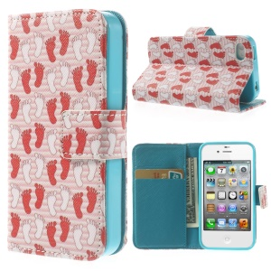 White & Red Footprints Wallet Leather Protector Case for iPhone 4 4s w/ Stand