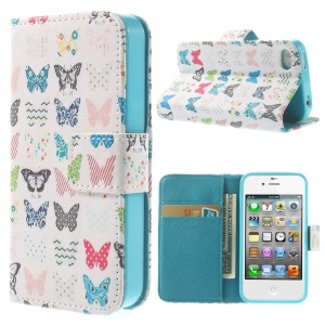 Pretty Butterflies Protective Wallet Leather Shell for iPhone 4 4s w/ Stand
