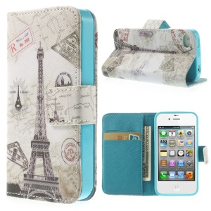 Paris Eiffel Tower for iPhone 4 4s Magnetic Wallet PU Leather Stand Cover