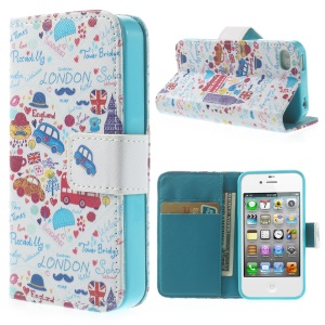 London Elements for iPhone 4 4s Card Slots PU Leather Case with Stand
