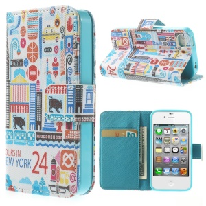 24 Hours in New York Folio Stand Leather Wallet Case for iPhone 4 4s