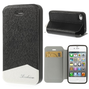 Fashion Textured PU Leather Stand Case for iPhone 4 4s w/ Card Slot - Black