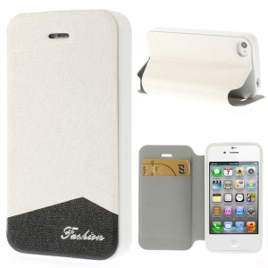 Fashion Textured Stand Leather Case for iPhone 4 4s w/ Card Slot - White