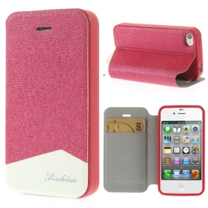 Fashion Textured Leather Cover for iPhone 4 4s w/ Stand & Card Slot - Rose