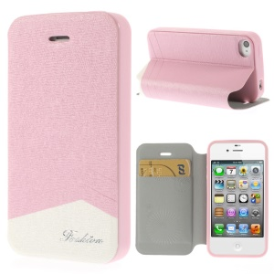 Fashion Textured Leather Shell for iPhone 4 4s w/ Stand & Card Slot - Pink
