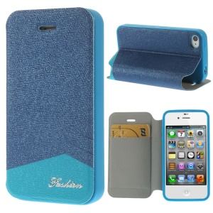 Fashion Textured Card Slot Leather Case with Stand for iPhone 4 4s - Blue