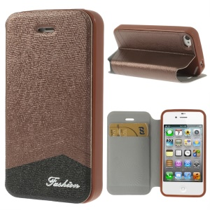 Fashion Textured Card Slot Leather Cover with Stand for iPhone 4 4s - Brown