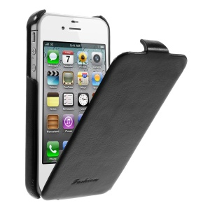 Fashion Vertical Crazy Horse PU Leather Flip Case for iPhone 4 4s - Black