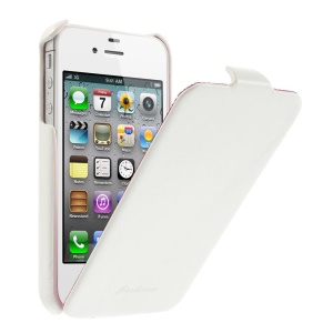 Fashion Crazy Horse Vertical Flip PU Leather Cover for iPhone 4 4s - White