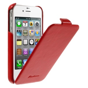 Fashion Crazy Horse Vertical Flip PU Leather Case for iPhone 4 4s - Red
