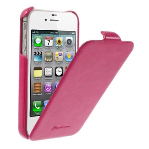 Fashion Crazy Horse Vertical Flip PU Leather Shell for iPhone 4 4s - Rose