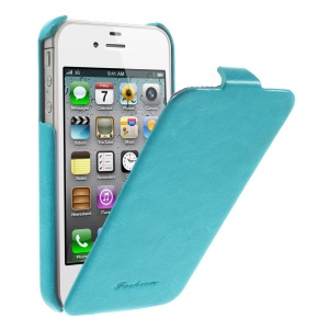 Fashion Crazy Horse Vertical Flip Leather Skin Case for iPhone 4 4s - Blue