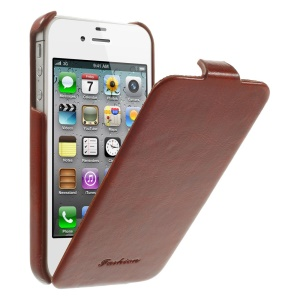 Fashion Crazy Horse PU Leather Vertical Flip Case for iPhone 4 4s - Brown