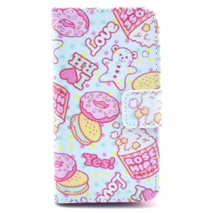 Popcorn & Doughnuts Wallet PU Leather Case with Stand for iPhone 4 4s