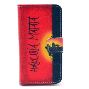 Hakuna Matata Protective PU Leather Wallet Case with Stand for iPhone 4 4s