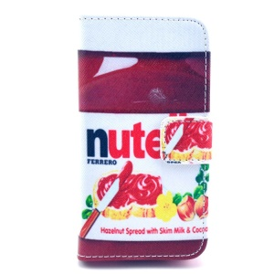 Nutella Hazelnut Chocolate Folio Stand PU Leather Wallet Cover for iPhone 4 4s
