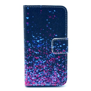 Colorful Galaxy Pattern PU Leather Case for iPhone 4 4s w/ Stand & Card Slots