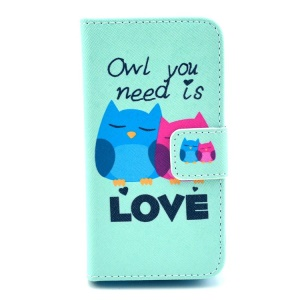 LOVE Owl Couple Wallet Leather Cover Case with Stand for iPhone 4 4s