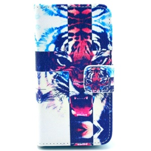 Fierce Tiger for iPhone 4 4s Wallet PU Leather Protector Case with Stand