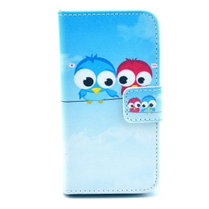 For iPhone 4 4s Two Cute Birds Wallet PU Leather Stand Case Shell