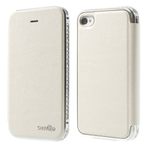 Deluxe SHENGO Diamond Metal Bumper Folio Genuine Leather Shell for iPhone 4 4s - White