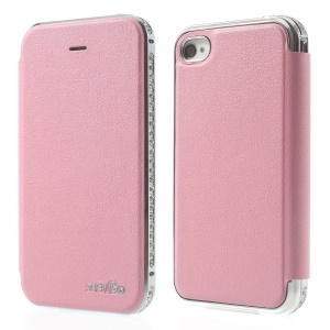 Deluxe for iPhone 4 4s SHENGO Diamond Metal Bumper Folio Genuine Leather Cover - Pink