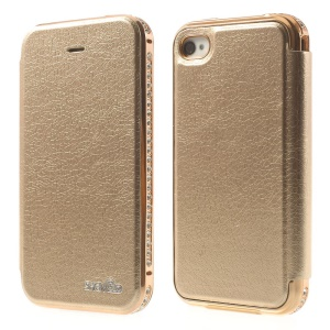 Deluxe for iPhone 4 4s SHENGO Diamond Metal Bumper Genuine Leather Folio Case - Champagne
