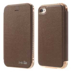 Deluxe SHENGO Diamond Metal Bumper Genuine Leather Folio Case for iPhone 4 4s - Brown