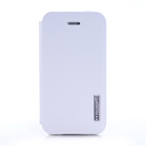 MOTOMO Folio Stand Durable Leather Cover for iPhone 4 4s - White