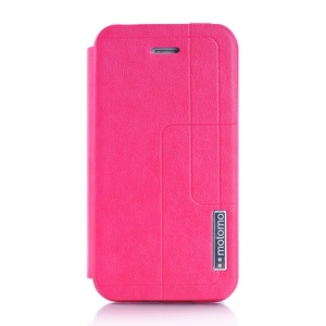 MOTOMO Folio Stand Durable Leather Shell for iPhone 4 4s - Magenta