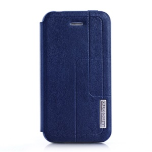 MOTOMO Folio PU Leather Cover Stand for iPhone 4 4s - Deep Blue