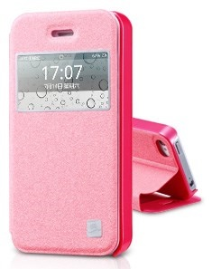 Pink TakeFans Asterism Series Window View Textured Folio Leather Stand Cover for iPhone 4s 4