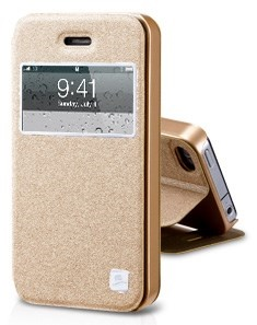 Gold TakeFans Asterism Series Window View Textured Folio Leather Case w/ Stand for iPhone 4s 4