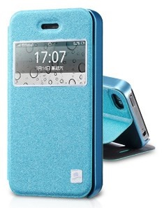 Blue TakeFans Asterism Series Window View Textured Folio Leather Cover w/ Stand for iPhone 4s 4