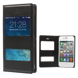 Black Double Window Leather Flip Case for iPhone 4 4s