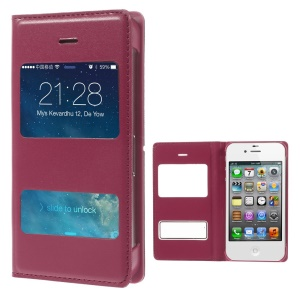 Red Double Window Flip Leather Protective Case for iPhone 4 4s