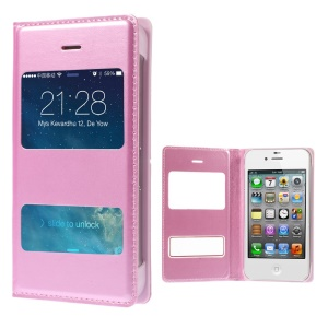 Pink Double Window PU Leather Folio Case for iPhone 4 4s