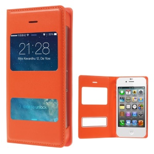 Orange Double Window PU Leather Folio Cover for iPhone 4 4s